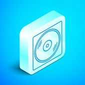 Isometric Line Vinyl Player With A Vinyl Disk Icon Isolated On Blue Background. Silver Square Button poster