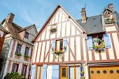 Typical Timber-frame Houses With Blue Shutters In Picturesque Village La Bouille In Upper Normandy R poster