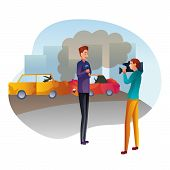Journalist Reports About Accident Flat Vector Illustration. Car Crash On Street. Male Reporter Repor poster