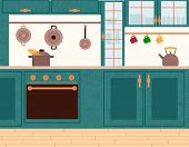 Interior View Of Cooking Place With Boiling Spaghetti On Stove. Teapot On Wooden Furniture, Steel Po poster