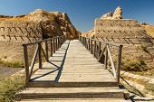 Archeological Town Sawran, Kazakhstan, Wooden Bridge In Front Of The Main Entrance poster