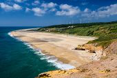 Portugal, Nazare In Summer, Coastline Landscape Of The Atlantic Ocean In Summer,  Wide Beaches With  poster