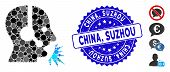 Mosaic Operator Speech Icon And Rubber Stamp Seal With China, Suzhou Phrase. Mosaic Vector Is Compos poster