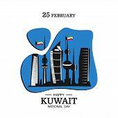 Vector Illustration On The Theme National Day Kuwait. National Landmarks Kuwait. Modern Flat Design. poster