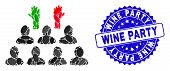 Mosaic Democratization Icon And Rubber Stamp Seal With Wine Party Phrase. Mosaic Vector Is Composed  poster