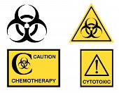 image of biological hazard  - Biohazard Cytotoxic and Chemotherapy symbols icons - JPG