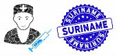 Mosaic Doctor Icon And Grunge Stamp Seal With Suriname Caption. Mosaic Vector Is Composed With Docto poster