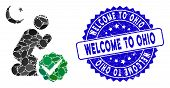 Mosaic For Muslims Icon And Rubber Stamp Seal With Welcome To Ohio Caption. Mosaic Vector Is Compose poster