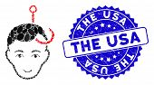 Mosaic Hooked Man Head Icon And Distressed Stamp Watermark With The Usa Caption. Mosaic Vector Is De poster