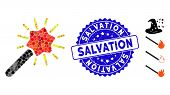 Mosaic Wizard Wand Icon And Distressed Stamp Seal With Salvation Caption. Mosaic Vector Is Composed  poster