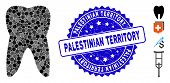 Mosaic Tooth Icon And Rubber Stamp Seal With Palestinian Territory Text. Mosaic Vector Is Composed W poster