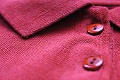 Polo Shirt Buttons And Collar Neck Close Up Of Purple Or Dark Pink Color Clothes. Casual Cotton T-sh poster