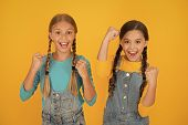 Patriotism Concept. Girls With Blue And Yellow Clothes. Patriotic Upbringing. Independence Day. Chil poster