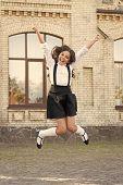 Freedom. Schoolgirl In Classy Retro Uniform. Old School. Back To School. Childhood Happiness. Classy poster