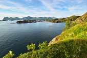 Fjord Seascape View At The Famous Tourist Attraction Hamn Village, Senja Island, Troms County - Norw poster
