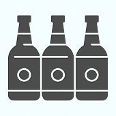 Bottles Solid Icon. Three Empty Glass Bottles Vector Illustration Isolated On White. Beer Bottles Gl poster