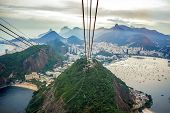 Rio De Janeiro Amazing View, Urca Hill, Sugar Loaf Mountain, Evening Clouds, Sunset. Funicular, Jesu poster