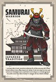 Pagoda Temple, Samurai Warrior. Vector Pagoda Sacred Building, Japan Traditional Temple. Ancient Sol poster