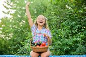 Eat Healthy. Summer Harvest Concept. Gmo Free. Healthy Food Concept. Girl Cute Smiling Child Living  poster