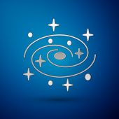 Silver Milky Way Spiral Galaxy With Stars Icon Isolated On Blue Background. Vector Illustration poster