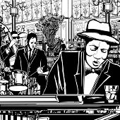 Illustration of a piano-Jazz band in a restaurant with piano, double bass and drum