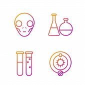Set Line Solar System, Test Tube And Flask Chemical Laboratory, Extraterrestrial Alien Face And Test poster