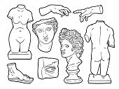 Ancient Sculpture Illustrations, Vector Handdrawn Ink Illustrations. poster
