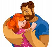 Father Hugging His Small Daughter Girl With Love And Care, Fatherhood And Parenting Family Lifestyle poster