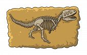 Dinosaur Fossil Skeleton In The Soil, Archeological Excavation Element Cartoon Style. Flat Vector Il poster