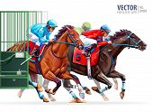 Three Racing Horses Competing With Each Other. Start Gates For Horse Races The Traditional Prize Der poster