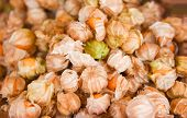 Pile Of Cape Gooseberry Fruit For Sale In The Market / Fresh Cape Gooseberry Background poster