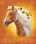 Piebald Horse, Vector Colorful Realistic Illustration. Portrait Of Running Horse With Flowers In Man poster