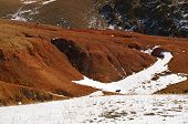 Natural Red Mountains With Some Snow And Dog In Kyzyl-chin Valley, Also Called As Mars Valley. Altai poster