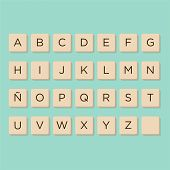 Alphabet In Scrabble Letters. Isolate Vector Illustration To Compose Your Own Words And Phrases. poster