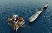 picture of rework  - Oil production into the sea from above - JPG