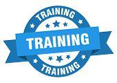 Training Ribbon. Training Round Blue Sign. Training poster