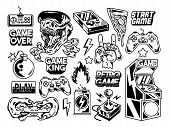 Custom Design Set Collection Of Retro Vintage Video Game Geek Culture Gamer Elements Bundle Cartoon  poster