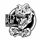 T Rex Angry Dinosaur Gamer Which Play Game On Joystick Gamepad Controller For Arcade Video Game. Cus poster