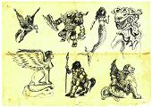 image of centaur  - handmade black and white drawing of mythological figures - JPG