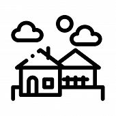 Urban Residential Landscape Icon Vector. Outline Urban Residential Landscape Sign. Isolated Contour  poster