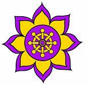 Chakra Buddhism Wheel Of Dharma Purple Illustration Flower poster