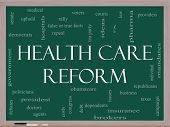 Health Care Reform Word Cloud Concept On A Blackboard