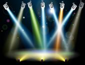 foto of flood-lights  - Dramatic multicolored lights like those on a dance floor in a disco or used in a stage light show - JPG