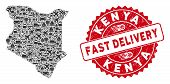 Delivery Mosaic Kenya Map And Distressed Stamp Seal With Fast Delivery Words. Kenya Map Collage Form poster