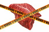 Beef Meat With Caution Barrier Tapes Concept, 3d Rendering Isolated On White Background poster