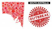 Contagious Collage South Australia Map And Red Grunge Stamp Seal With Outbreak Words. South Australi poster