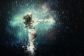 stock photo of dancing rain  - Illustration of 3d splashing girl dancing in the rain - JPG