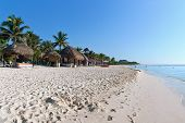 image of playa del carmen  - Idylic beach at Playa del Carmen with no people - JPG