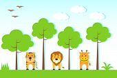 picture of jungle birds  - vector illustration of animals in jungle with tree - JPG