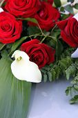 stock photo of arum  - Arum lily or white calla lily in a bridal bouquet of fresh red roses lying on a table top - JPG